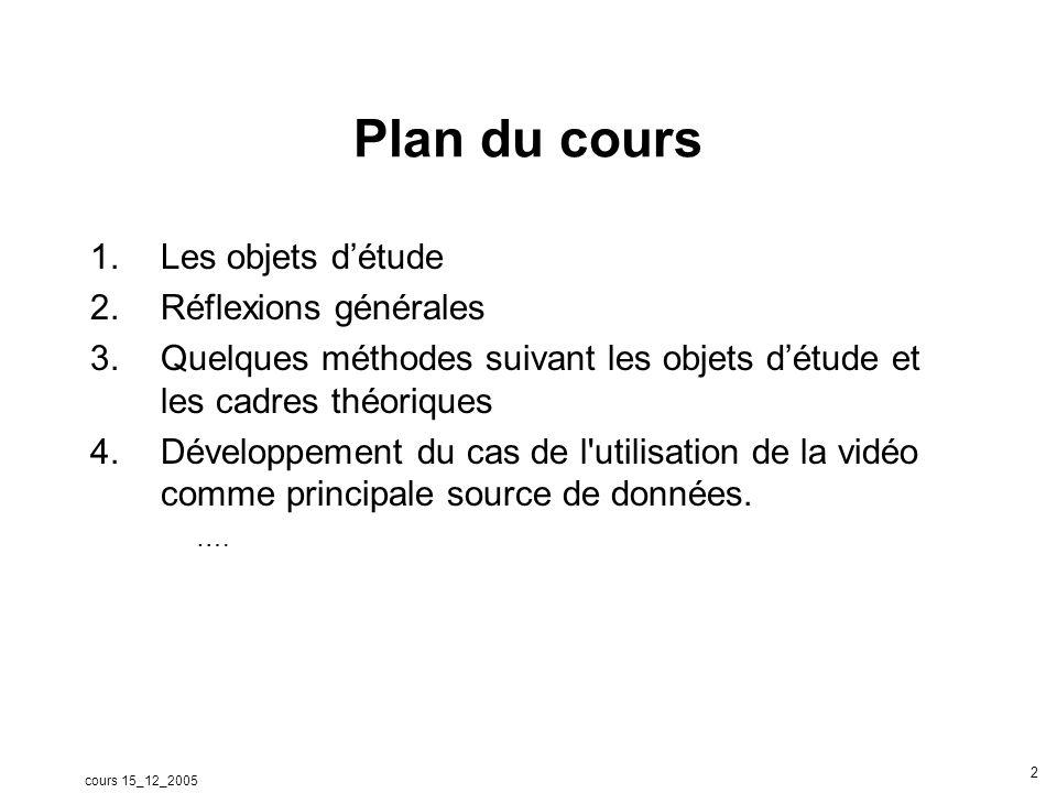 cours 15_12_2005 2 Plan du cours 1.Les objets détude 2.Réflexions générales 3.Quelques méthodes suivant les objets détude et les cadres théoriques 4.D