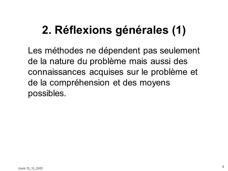 cours 15_12_2005 4 2. Réflexions générales (1) Les méthodes ne dépendent pas seulement de la nature du problème mais aussi des connaissances acquises