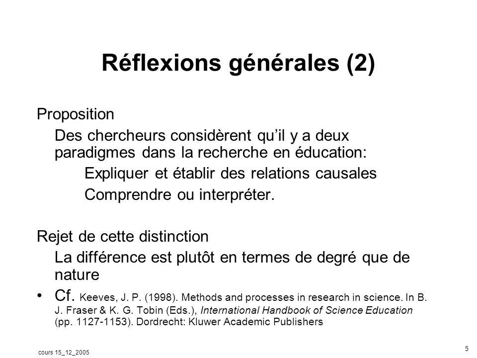 cours 15_12_2005 5 Réflexions générales (2) Proposition Des chercheurs considèrent quil y a deux paradigmes dans la recherche en éducation: Expliquer