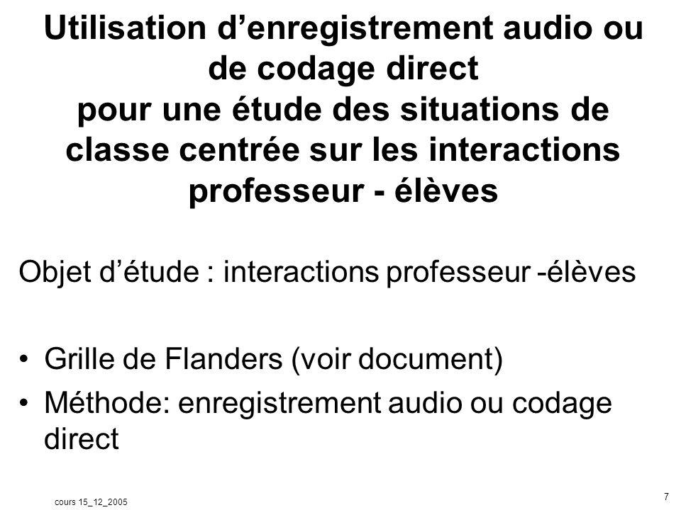 cours 15_12_2005 7 Utilisation denregistrement audio ou de codage direct pour une étude des situations de classe centrée sur les interactions professe