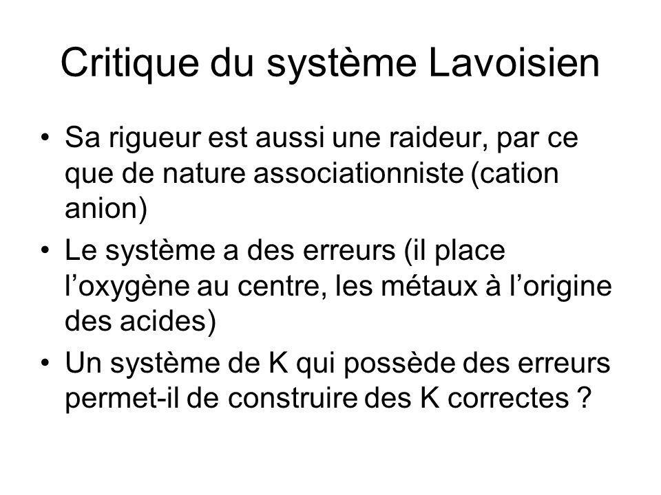 Critique du système Lavoisien Sa rigueur est aussi une raideur, par ce que de nature associationniste (cation anion) Le système a des erreurs (il plac