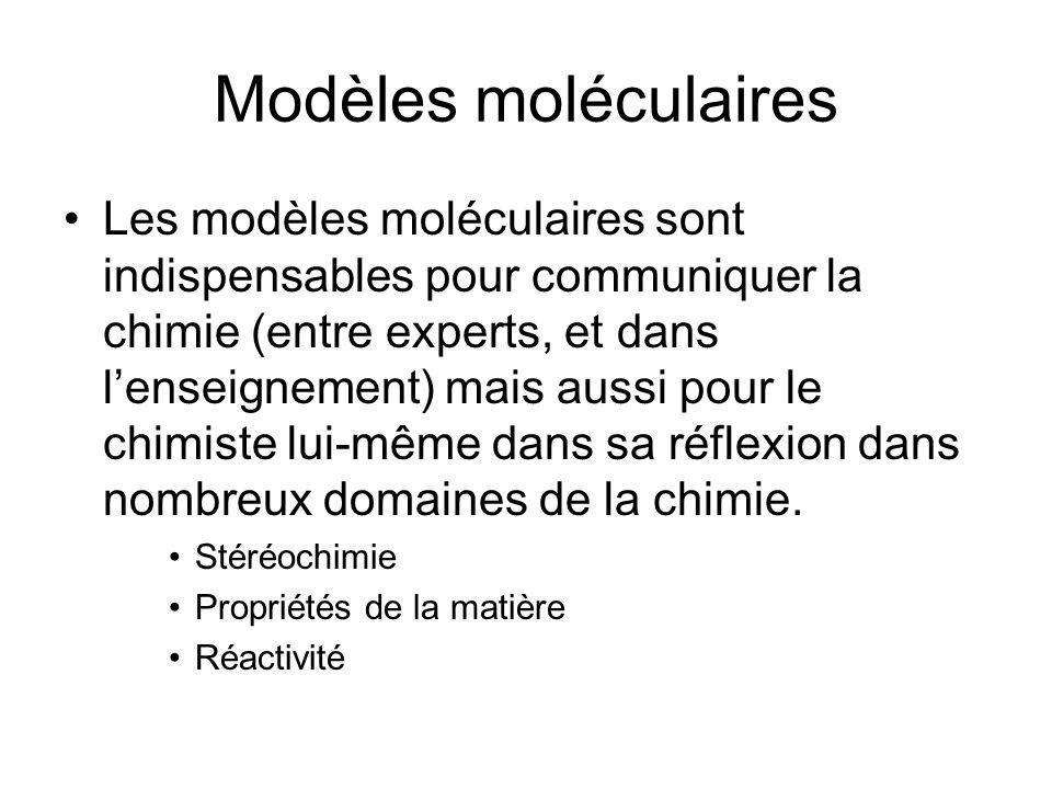 Modèles moléculaires Les modèles moléculaires sont indispensables pour communiquer la chimie (entre experts, et dans lenseignement) mais aussi pour le