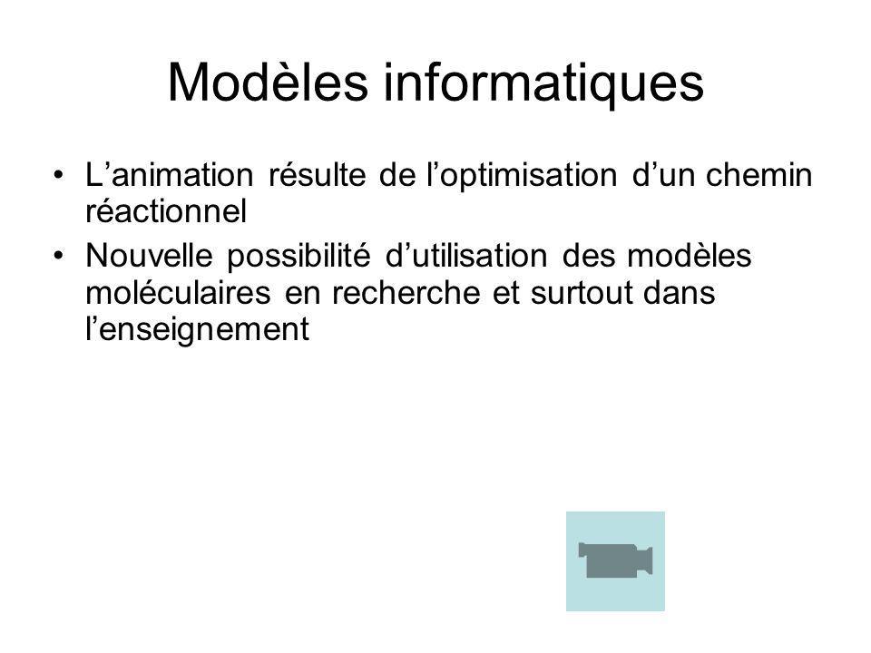 Modèles informatiques Lanimation résulte de loptimisation dun chemin réactionnel Nouvelle possibilité dutilisation des modèles moléculaires en recherc