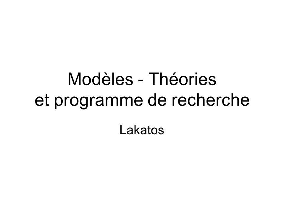 Modèles - Théories et programme de recherche Lakatos