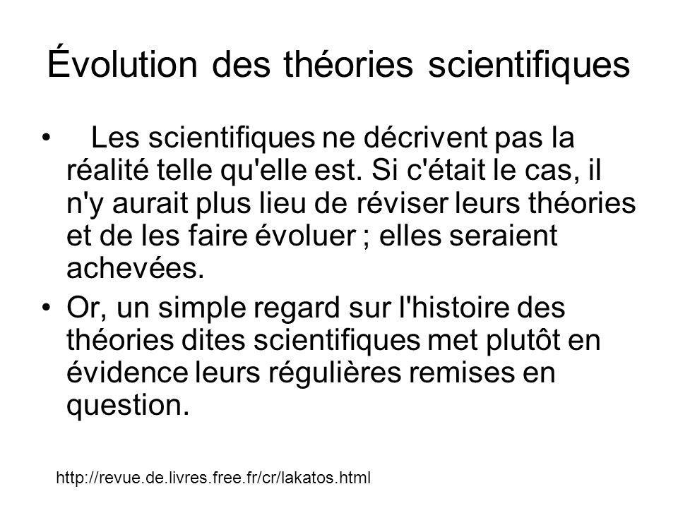 Évolution des théories scientifiques Les scientifiques ne décrivent pas la réalité telle qu'elle est. Si c'était le cas, il n'y aurait plus lieu de ré