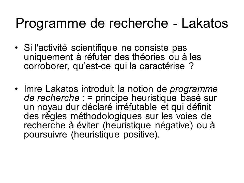 Programme de recherche - Lakatos Si l'activité scientifique ne consiste pas uniquement à réfuter des théories ou à les corroborer, quest-ce qui la car