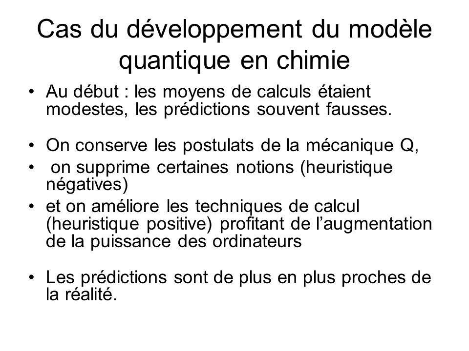 Cas du développement du modèle quantique en chimie Au début : les moyens de calculs étaient modestes, les prédictions souvent fausses. On conserve les