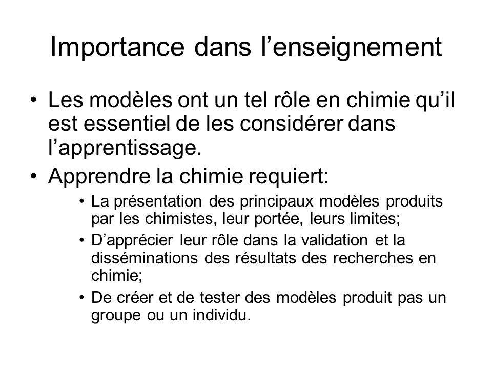 Importance dans lenseignement Les modèles ont un tel rôle en chimie quil est essentiel de les considérer dans lapprentissage. Apprendre la chimie requ