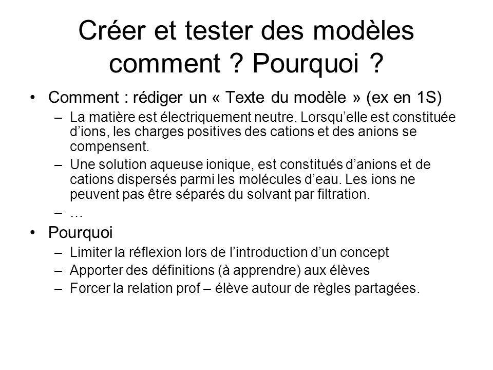 Créer et tester des modèles comment ? Pourquoi ? Comment : rédiger un « Texte du modèle » (ex en 1S) –La matière est électriquement neutre. Lorsquelle