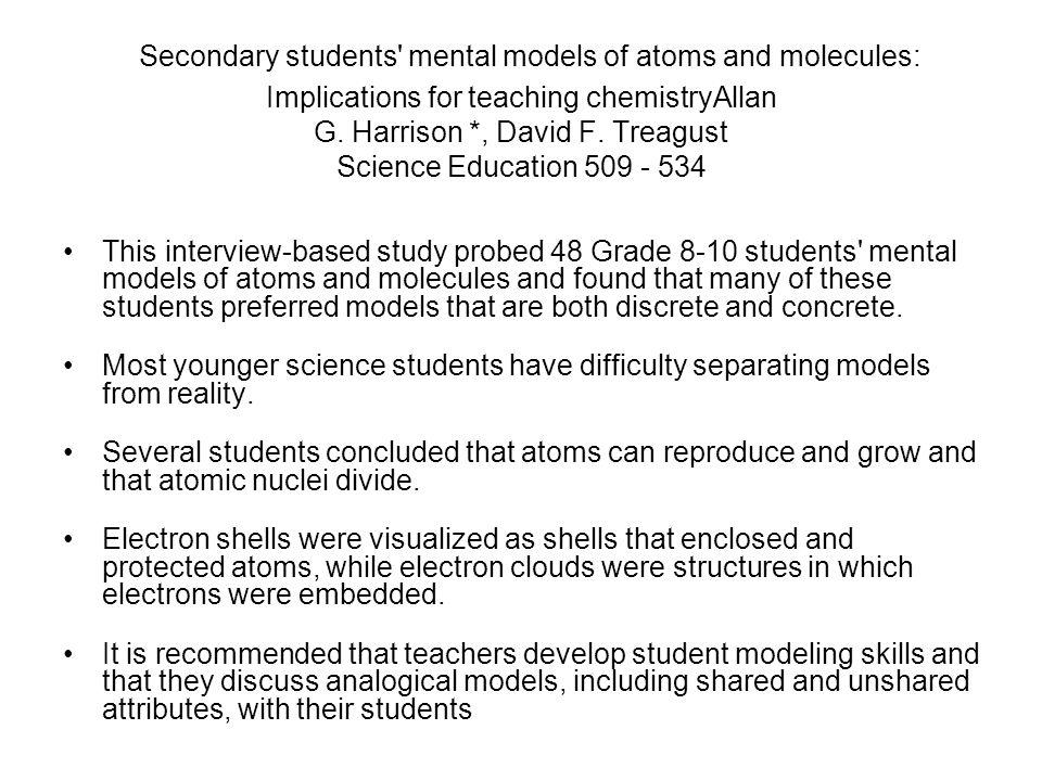 Secondary students mental models of atoms and molecules: Implications for teaching chemistryAllan G.