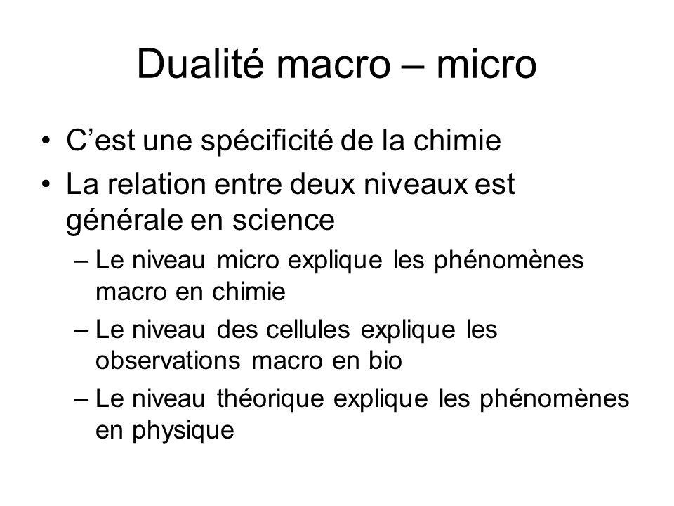 Dualité macro – micro Cest une spécificité de la chimie La relation entre deux niveaux est générale en science –Le niveau micro explique les phénomène