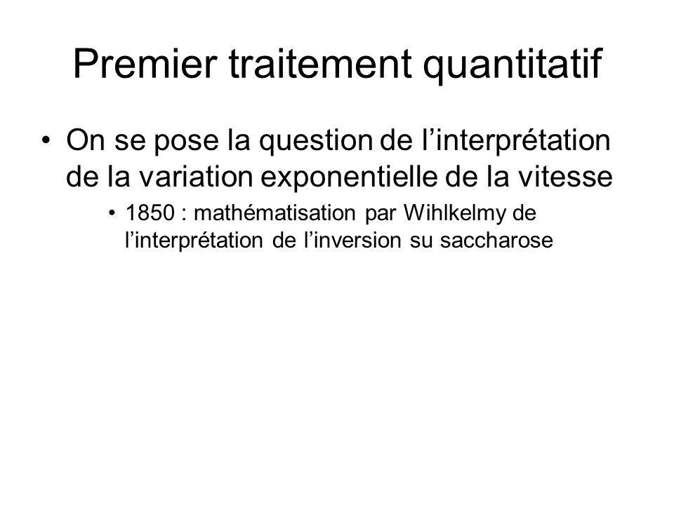 Premier traitement quantitatif On se pose la question de linterprétation de la variation exponentielle de la vitesse 1850 : mathématisation par Wihlke