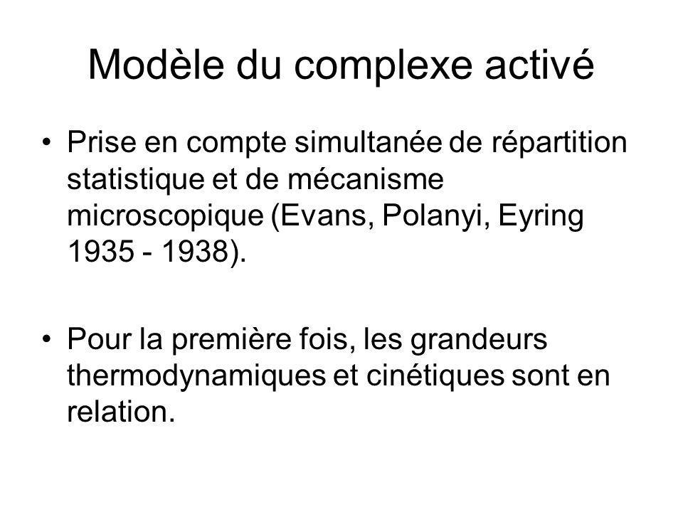 Modèle du complexe activé Prise en compte simultanée de répartition statistique et de mécanisme microscopique (Evans, Polanyi, Eyring 1935 - 1938). Po