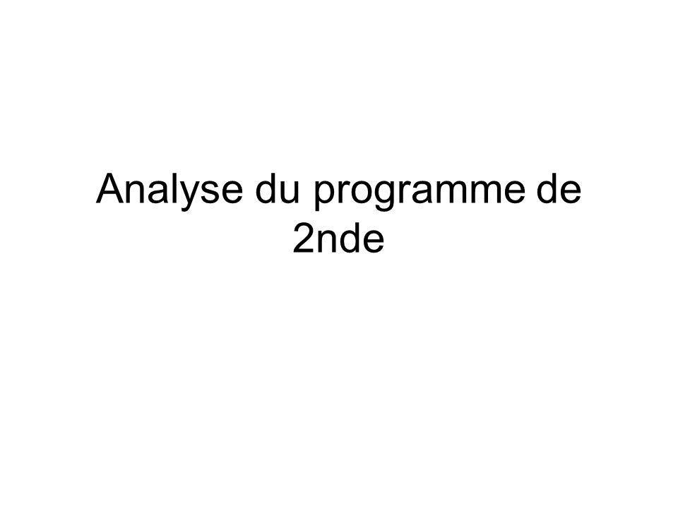 Analyse du programme de 2nde