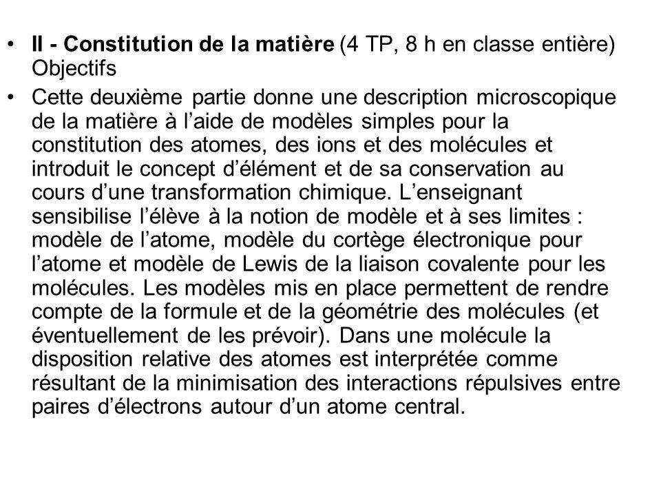 II - Constitution de la matière (4 TP, 8 h en classe entière) Objectifs Cette deuxième partie donne une description microscopique de la matière à laid