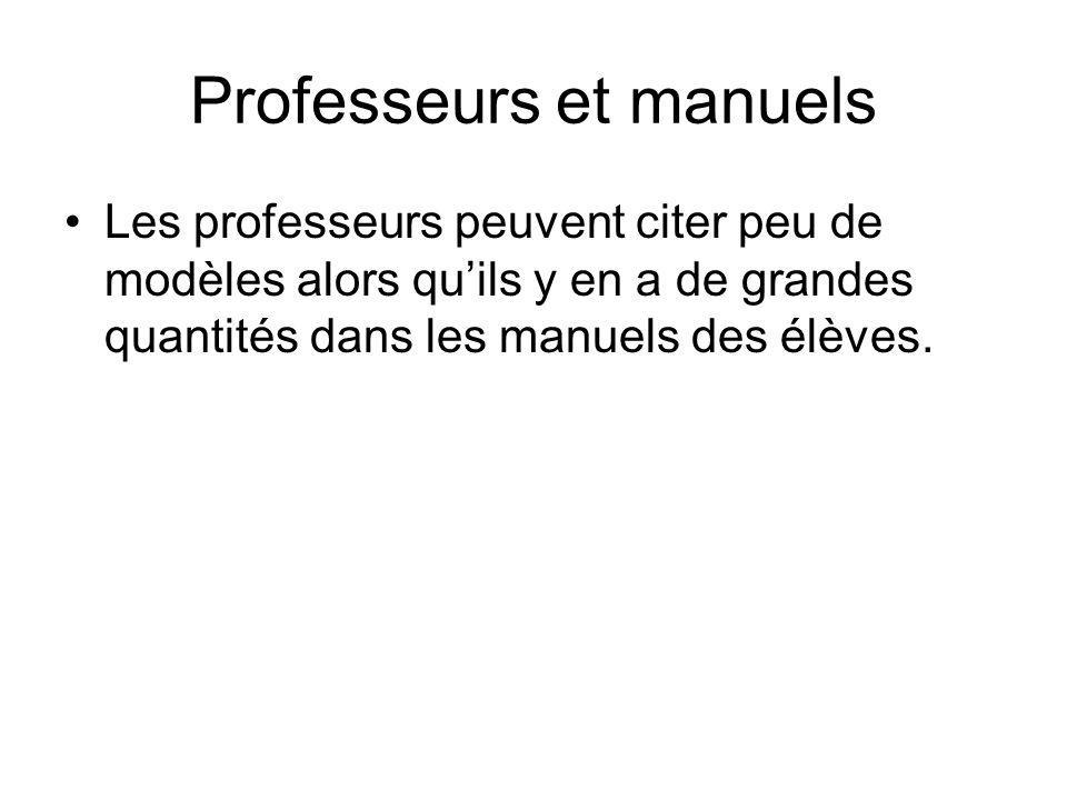 Professeurs et manuels Les professeurs peuvent citer peu de modèles alors quils y en a de grandes quantités dans les manuels des élèves.