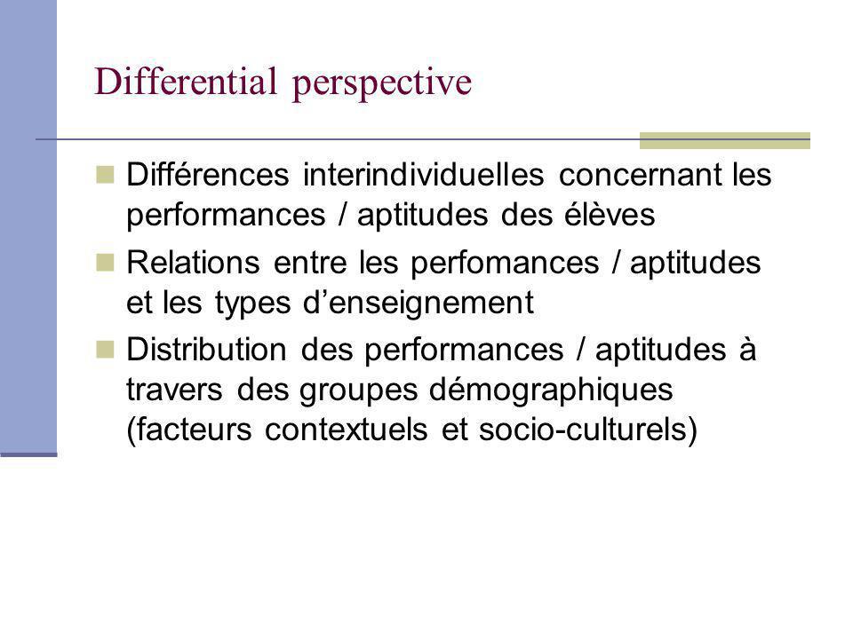Differential perspective Différences interindividuelles concernant les performances / aptitudes des élèves Relations entre les perfomances / aptitudes et les types denseignement Distribution des performances / aptitudes à travers des groupes démographiques (facteurs contextuels et socio-culturels)