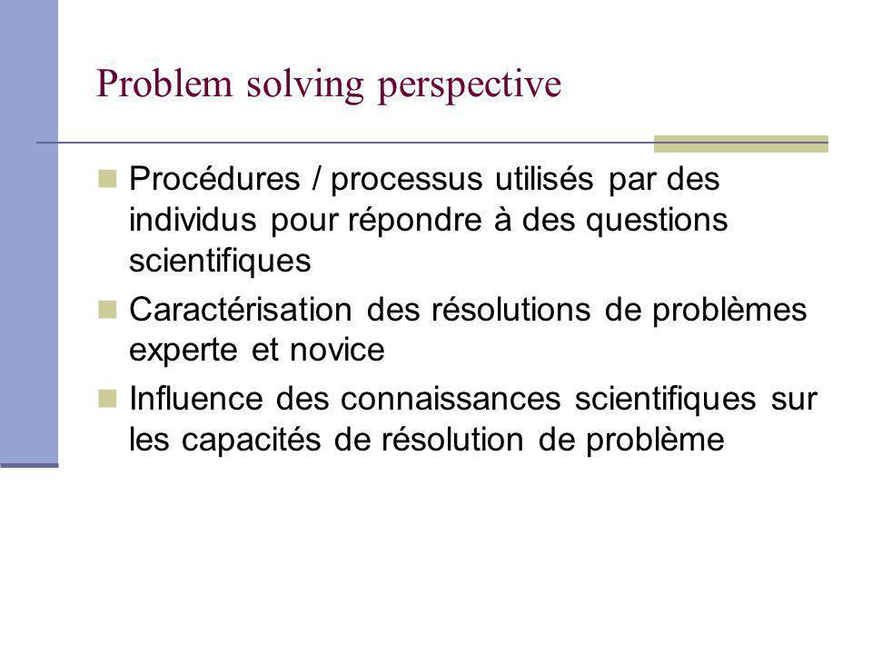 Problem solving perspective Procédures / processus utilisés par des individus pour répondre à des questions scientifiques Caractérisation des résolutions de problèmes experte et novice Influence des connaissances scientifiques sur les capacités de résolution de problème