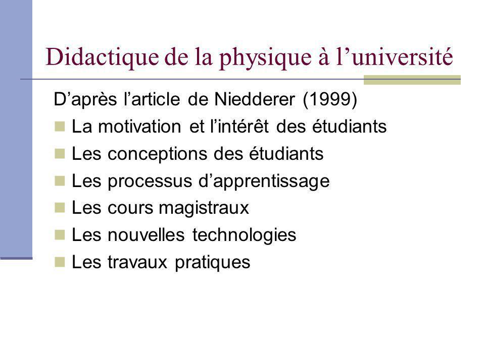 Didactique de la physique à luniversité Daprès larticle de Niedderer (1999) La motivation et lintérêt des étudiants Les conceptions des étudiants Les