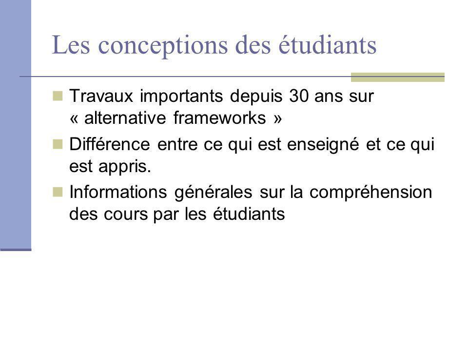 Les conceptions des étudiants Travaux importants depuis 30 ans sur « alternative frameworks » Différence entre ce qui est enseigné et ce qui est appris.