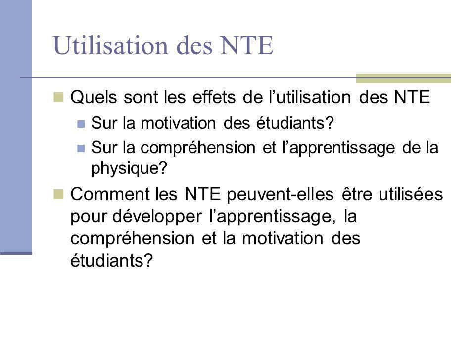 Utilisation des NTE Quels sont les effets de lutilisation des NTE Sur la motivation des étudiants? Sur la compréhension et lapprentissage de la physiq