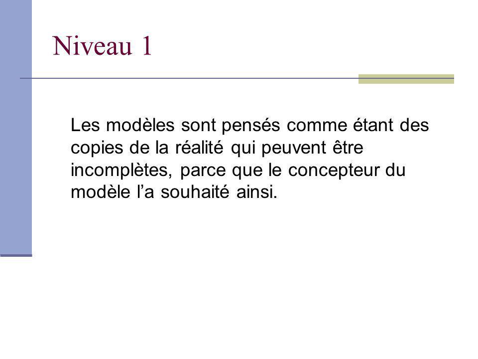 Niveau 1 Les modèles sont pensés comme étant des copies de la réalité qui peuvent être incomplètes, parce que le concepteur du modèle la souhaité ainsi.