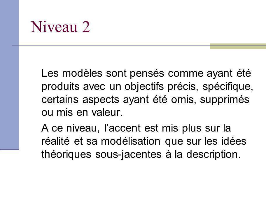 Niveau 2 Les modèles sont pensés comme ayant été produits avec un objectifs précis, spécifique, certains aspects ayant été omis, supprimés ou mis en v