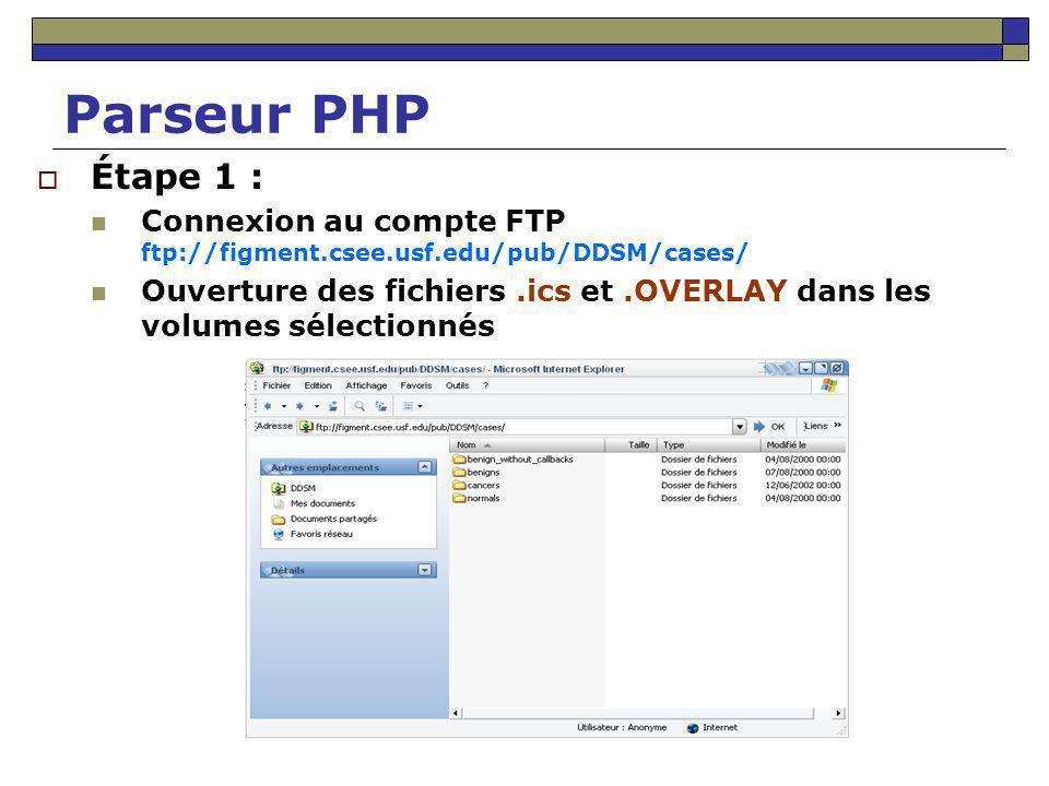 Parseur PHP Étape 1 : Connexion au compte FTP ftp://figment.csee.usf.edu/pub/DDSM/cases/ Ouverture des fichiers.ics et.OVERLAY dans les volumes sélect