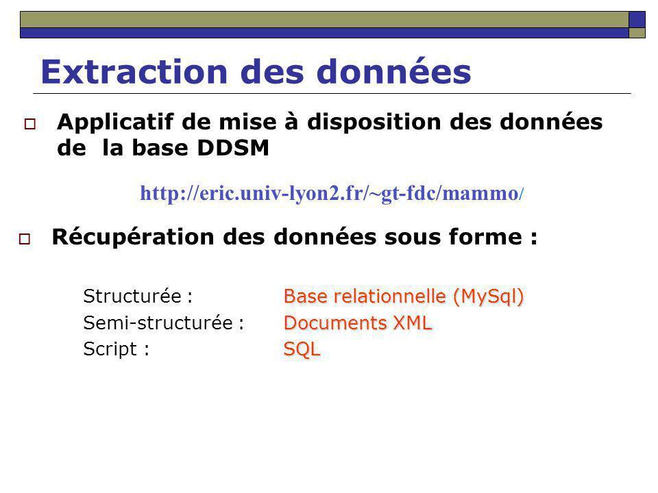 Extraction des données Applicatif de mise à disposition des données de la base DDSM Récupération des données sous forme : Base relationnelle (MySql) S