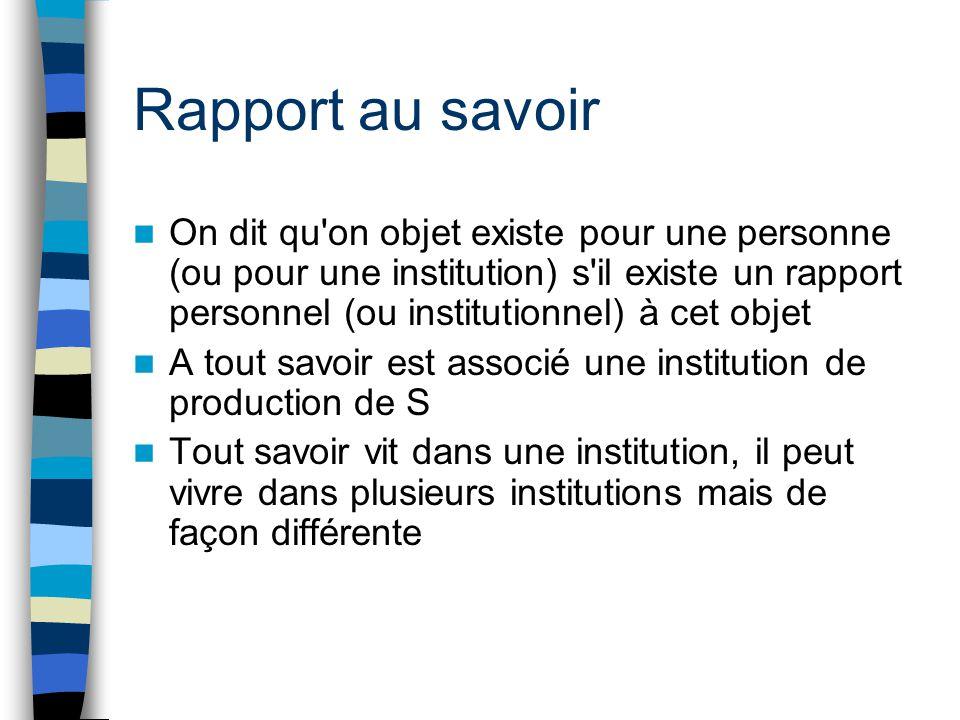 Rapport au savoir On dit qu'on objet existe pour une personne (ou pour une institution) s'il existe un rapport personnel (ou institutionnel) à cet obj