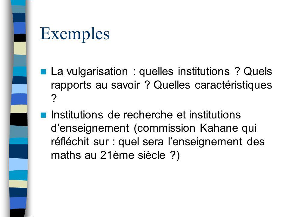 Exemples La vulgarisation : quelles institutions ? Quels rapports au savoir ? Quelles caractéristiques ? Institutions de recherche et institutions den