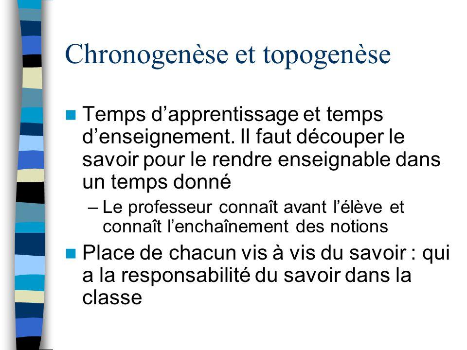 Chronogenèse et topogenèse Temps dapprentissage et temps denseignement. Il faut découper le savoir pour le rendre enseignable dans un temps donné –Le