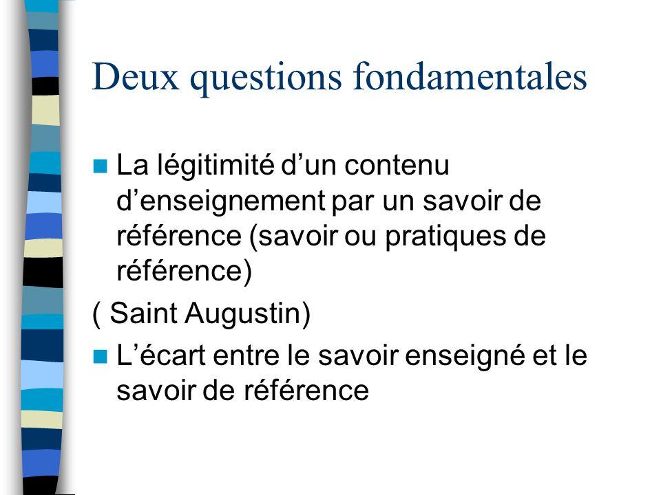 Deux questions fondamentales La légitimité dun contenu denseignement par un savoir de référence (savoir ou pratiques de référence) ( Saint Augustin) L