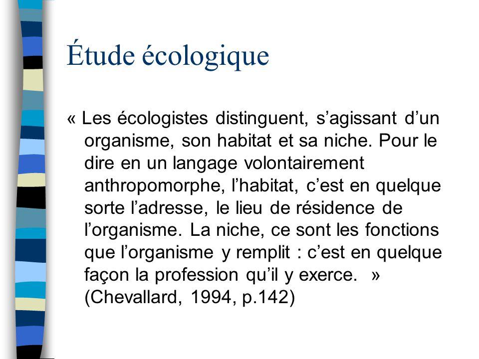 Étude écologique « Les écologistes distinguent, sagissant dun organisme, son habitat et sa niche. Pour le dire en un langage volontairement anthropomo