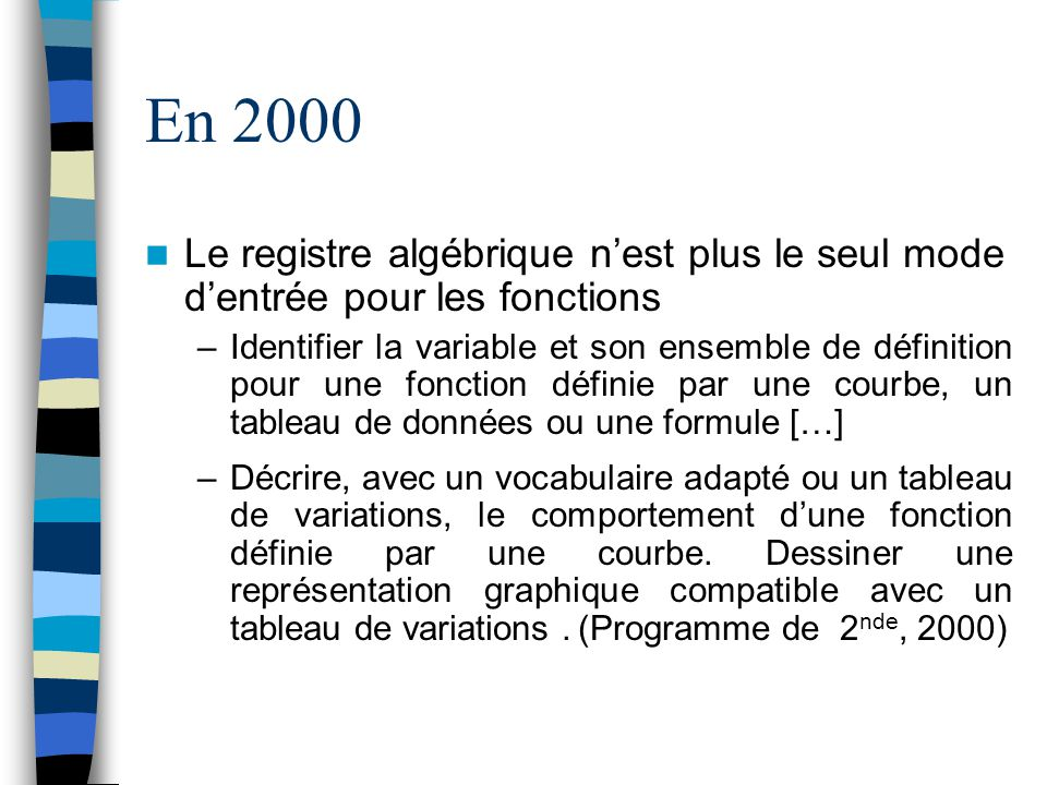 En 2000 Le registre algébrique nest plus le seul mode dentrée pour les fonctions –Identifier la variable et son ensemble de définition pour une foncti