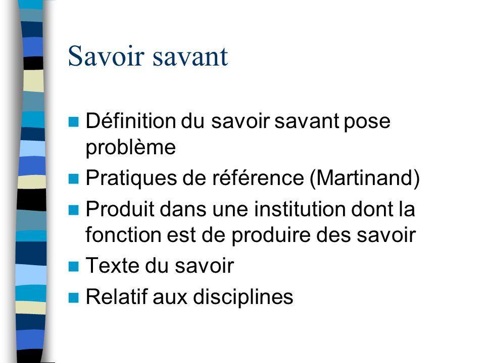 Savoir savant Définition du savoir savant pose problème Pratiques de référence (Martinand) Produit dans une institution dont la fonction est de produi
