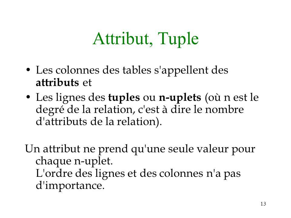 13 Attribut, Tuple Les colonnes des tables s'appellent des attributs et Les lignes des tuples ou n-uplets (où n est le degré de la relation, c'est à d