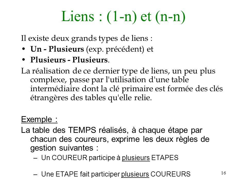 16 Liens : (1-n) et (n-n) Il existe deux grands types de liens : Un - Plusieurs (exp. précédent) et Plusieurs - Plusieurs. La réalisation de ce dernie