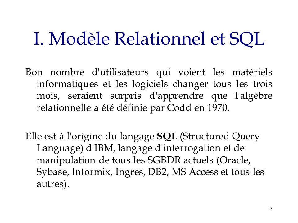 3 I. Modèle Relationnel et SQL Bon nombre d'utilisateurs qui voient les matériels informatiques et les logiciels changer tous les trois mois, seraient