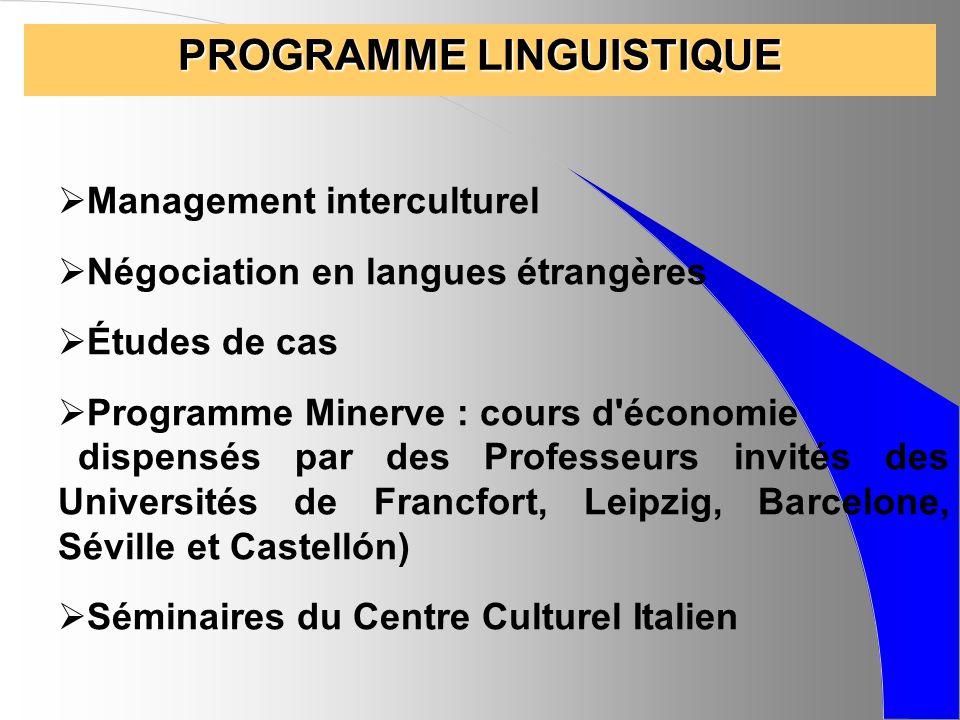 CYCLE DE CONFERENCES Exemples de problématiques abordées : - Léthique, le développement durable - La propriété intellectuelle, la contrefaçon - L intégration européenne - Les foires et salons