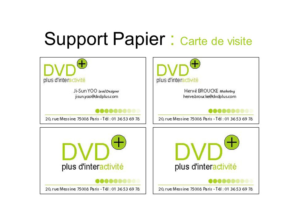Support Papier : Carte de visite