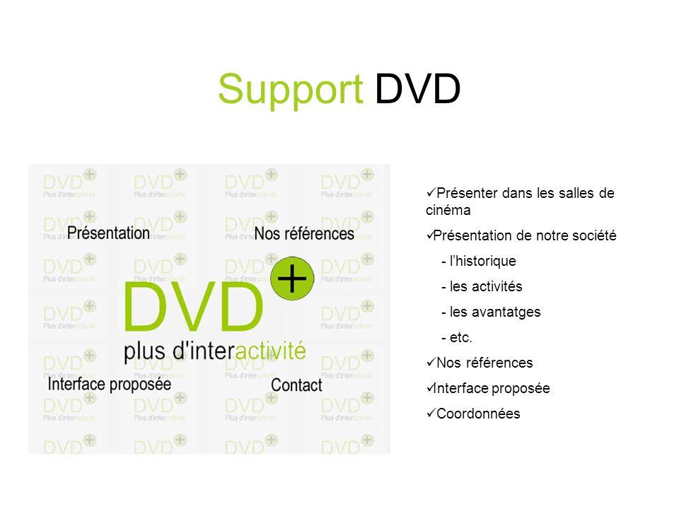 Support DVD Présenter dans les salles de cinéma Présentation de notre société - lhistorique - les activités - les avantatges - etc.
