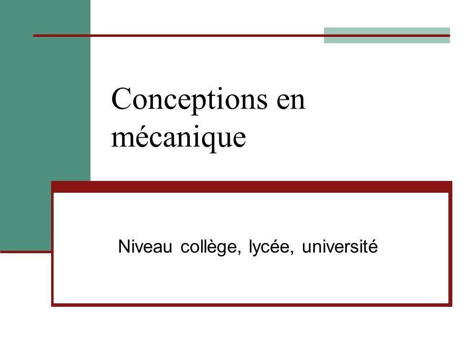 Conceptions en mécanique Niveau collège, lycée, université