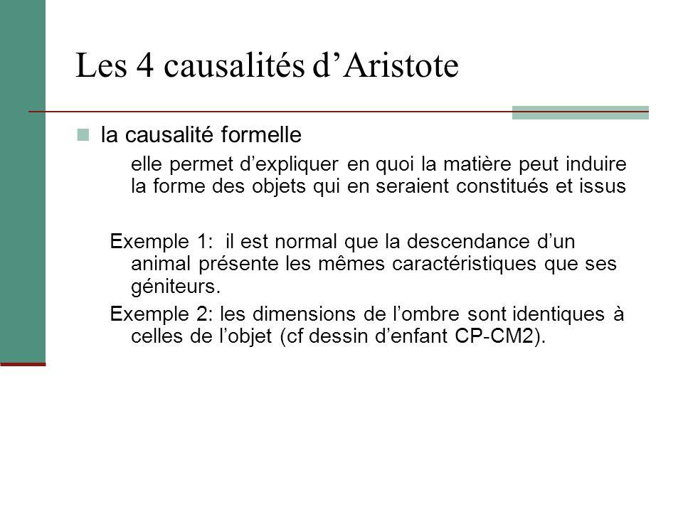 Les 4 causalités dAristote la causalité formelle elle permet dexpliquer en quoi la matière peut induire la forme des objets qui en seraient constitués