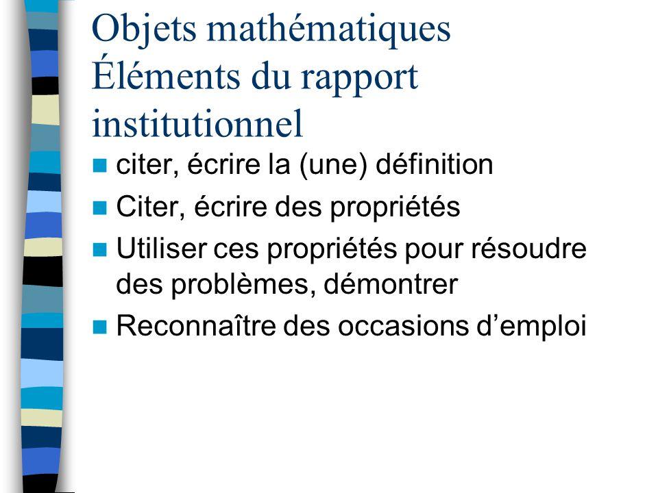 Notions mathématiques Construites Définition Propriétés Reconnaître des occasions demploi