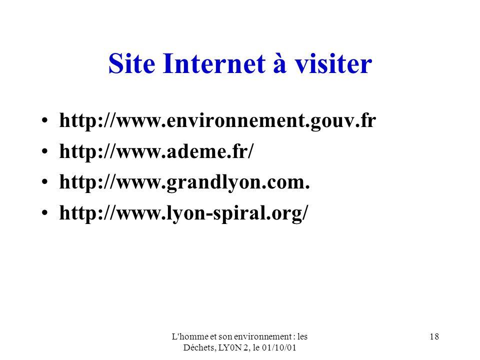 L'homme et son environnement : les Déchets, LY0N 2, le 01/10/01 18 Site Internet à visiter http://www.environnement.gouv.fr http://www.ademe.fr/ http: