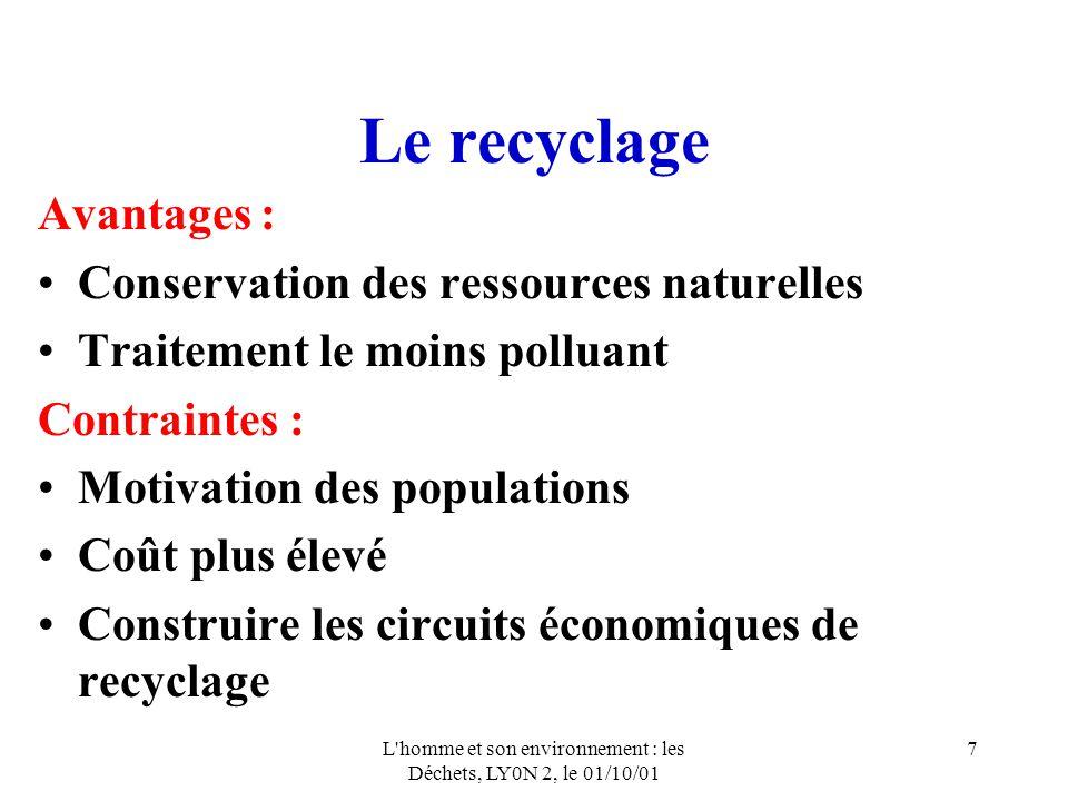 L'homme et son environnement : les Déchets, LY0N 2, le 01/10/01 7 Le recyclage Avantages : Conservation des ressources naturelles Traitement le moins