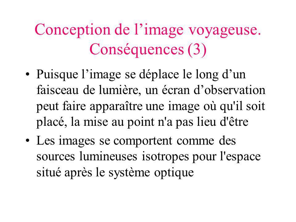 Conception de limage voyageuse. Conséquences (3) Puisque limage se déplace le long dun faisceau de lumière, un écran dobservation peut faire apparaîtr