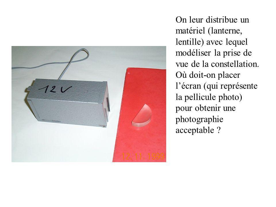 On leur distribue un matériel (lanterne, lentille) avec lequel modéliser la prise de vue de la constellation.
