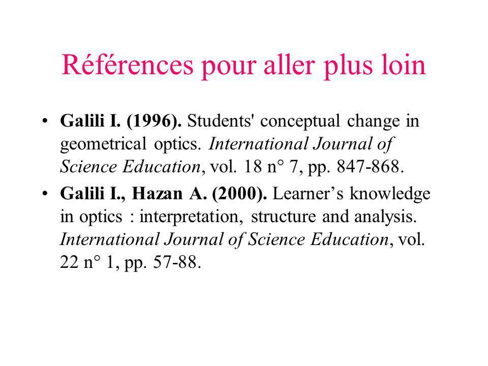 Références pour aller plus loin Galili I. (1996). Students' conceptual change in geometrical optics. International Journal of Science Education, vol.